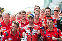 3rd November 2019; Sepang Circuit, Sepang Malaysia; MotoGP Malaysia, Race Day;  The number 4 Ducati Corse Team rider Andrea Dovizioso celebrates third after the race - Editorial Use
