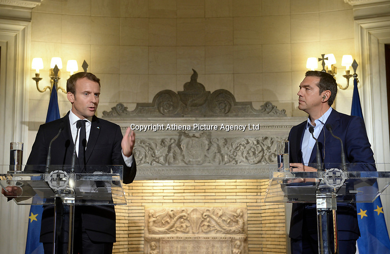 Pictured: (L-R) French President Emmanuel Macron and Greek Prime Minister Alexis Tsipras at Maximos Mansion in Athens, Greece. Thurday 07 September 2017<br />Re: French President Emmanuel Macron state visit to Athens, Greece.
