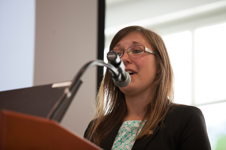 Amanda Browning, a senior accounting and business pre-law student, speaks to freshman in the College of Business in Nelson Commons on Saturday, August 22, 2015. Two College of Business seniors gave advice to the new students. Photo by Kaitlin Owens