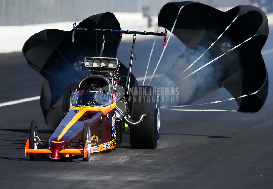 Nov 9, 2013; Pomona, CA, USA; NHRA top alcohol dragster driver Ray Martin during qualifying for the Auto Club Finals at Auto Club Raceway at Pomona. Mandatory Credit: Mark J. Rebilas-