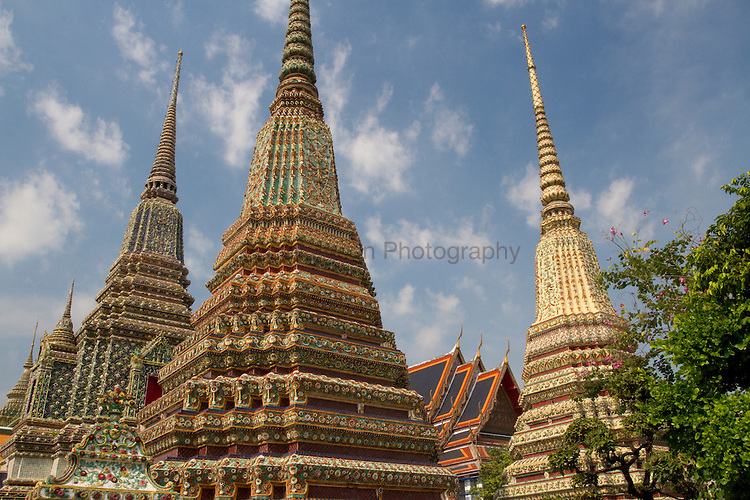 view of trio of chedi, wat pho.