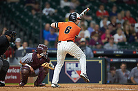 Ben Haefner (6) of the Sam Houston State Bearkats at bat against the Mississippi State Bulldogs during game eight of the 2018 Shriners Hospitals for Children College Classic at Minute Maid Park on March 3, 2018 in Houston, Texas. The Bulldogs defeated the Bearkats 4-1.  (Brian Westerholt/Four Seam Images)