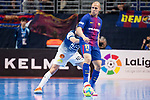 Barcelona Lassa Carlos Vagner and R. Renov. Zaragoza Carlos Retamar during Futsal Spanish Cup 2018 at Wizink Center in Madrid , Spain. March 16, 2018. (ALTERPHOTOS/Borja B.Hojas)