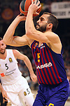 Turkish Airlines Euroleague 2018/2019. <br /> Regular Season-Round 24.<br /> FC Barcelona Lassa vs R. Madrid: 77-70. <br /> Pau Ribas.