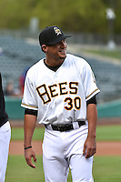 Roberto Lopez (30) of the Salt Lake Bees prior to the game against the Sacramento River Cats at Smith's Ballpark on April 3, 2014 in Salt Lake City, Utah.  (Stephen Smith/Four Seam Images)