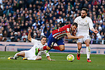 Real Madrid´s Daniel Carvajal and Lucas Vazquez and Atletico de Madrid´s Koke during 2015/16 La Liga match between Real Madrid and Atletico de Madrid at Santiago Bernabeu stadium in Madrid, Spain. February 27, 2016. (ALTERPHOTOS/Victor Blanco)