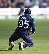 Jun 6th, The SSE SWALEC, Cardiff, Wales; ICC Champions Trophy; England versus New Zealand;  Adil Rashid of England holds a catch to take the wicket of Adam Milne of New Zealand and win the match