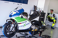 Dominique Aegerter in his box at pre season winter test IRTA Moto3 & Moto2 at Ricardo Tormo circuit in Valencia (Spain), 11-12-13 February 2014