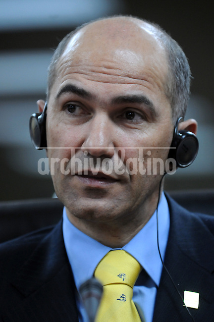 Janez Jansa, Slovenia's prime minister, listens during a news conference following the Fifth Summit of Latin America, the Caribbean and the European Union in    Lima,