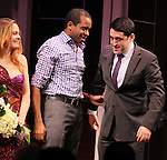 Alicia Silverstone, Daniel Breaker & Evan Cabnet during the Broadway Opening Night Performance Curtain Call for 'The Performers' at the Longacre Theatre in New York City on 11/14/2012