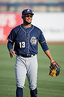 San Antonio Missions Jose Rondon (13) warms up before a game against the Tulsa Drillers on June 1, 2017 at ONEOK Field in Tulsa, Oklahoma.  Tulsa defeated San Antonio 5-4 in eleven innings.  (Mike Janes/Four Seam Images)