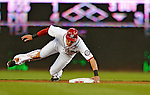 18 May 2012: Washington Nationals shortstop Ian Desmond steals second in the bottom of the third inning against the Baltimore Orioles at Nationals Park in Washington, DC. The Orioles defeated the Nationals 2-1 in the first game of their 3-game series. Mandatory Credit: Ed Wolfstein Photo