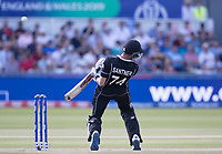 Mitchell Santner (New Zealand) evades a short delivery during England vs New Zealand, ICC World Cup Cricket at The Riverside Ground on 3rd July 2019