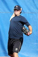 Tampa Yankees pitcher Zach Nuding #56 during practice before a game against the Dunedin Blue Jays at Dunedin Stadium on April 28, 2012 in Dunedin, Florida.  Dunedin defeated the Yankees 6-1.  (Mike Janes/Four Seam Images)