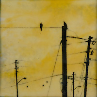 "Yellow sky with birds on telephone poles; ""communication"" encaustic painting"