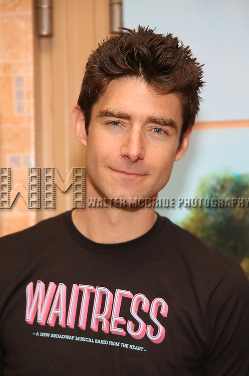 "Drew Gehling from the cast of ""Waitress"" celebrate 'Sugar, Butter, Flour: The Waitress Pie Cookbook at The Brooks Atkinson Theatre on June 27, 2017 in New York City."