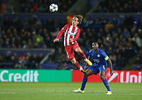 Atletico Madrid's Antoine Griezmann watched by Leicester City's Wes Morgan<br /> <br /> Photographer Stephen White/CameraSport<br /> <br /> UEFA Champions League Quarter Final Second Leg - Leicester City v Atletico Madrid - Tuesday 18th April 2017 - King Power Stadium - Leicester <br />  <br /> World Copyright &copy; 2017 CameraSport. All rights reserved. 43 Linden Ave. Countesthorpe. Leicester. England. LE8 5PG - Tel: +44 (0) 116 277 4147 - admin@camerasport.com - www.camerasport.com