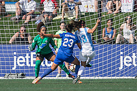 Allston, MA - Saturday August 19, 2017: Abby Smith, Katie Stengel, Alex Morgan during a regular season National Women's Soccer League (NWSL) match between the Boston Breakers and the Orlando Pride at Jordan Field.
