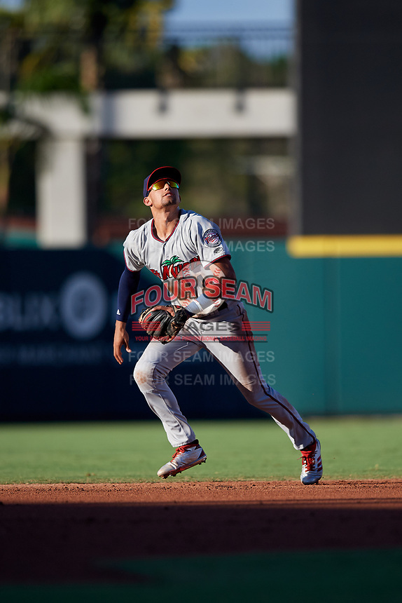 Fort Myers Miracle shortstop Royce Lewis (4) tracks a pop up during a game against the Lakeland Flying Tigers on August 7, 2018 at Publix Field at Joker Marchant Stadium in Lakeland, Florida.  Fort Myers defeated Lakeland 5-0.  (Mike Janes/Four Seam Images)