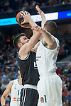 Real Madrid Fabien Causeur and Brose Bamberg Dejan Musli during Turkish Airlines Euroleague match between Real Madrid and Brose Bamberg at Wizink Center in Madrid, Spain. April 06, 2018. (ALTERPHOTOS/Borja B.Hojas)