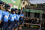 Movistar Team at sign on before the 113th edition of Il Lombardia 2019 running 243km from Bergamo to Como, Italy. 10th Octobre 2019. <br /> Picture: Marco Alpozzi/LaPresse | Cyclefile<br /> <br /> All photos usage must carry mandatory copyright credit (© Cyclefile | LaPresse/Marco Alpozzi)