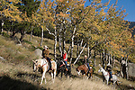 Family group outdoors on a crisp and cool fall morning riding horses on a wrangler-led ride, amid aspen groves high in Rocky Mountains, near Estes Park, Colorado, USA .(MR #88)