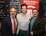 "Stephen DeRosa, Michael Urie and Jesse Berger attends ""The Government Inspector"" Opening Night Party at West Bank Cafe on June 1, 2017 in New York City."