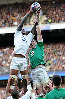Courtney Lawes of England outjumps Peter O'Mahony of Ireland during the Guinness Six Nations match between England and Ireland at Twickenham Stadium on Sunday 23rd February 2020 (Photo by Rob Munro/Stewart Communications)