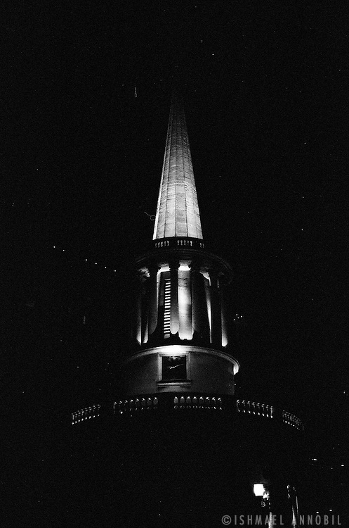 All Souls Church spire at night