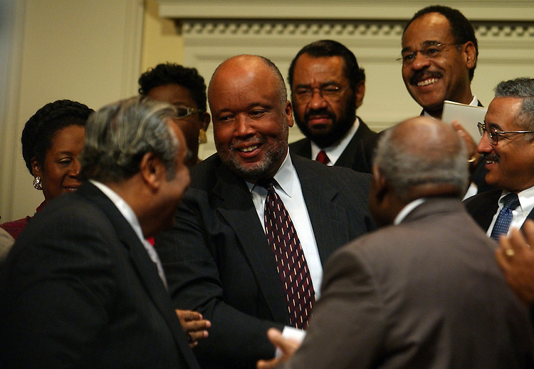 Rep. Benny Thompson, D-Miss., gets a round of applause as the incoming ranking member of Homeland Security at a Congressional Black Caucus at the Library of Congress, in which members where sworn into the CBC for the109th Congress,Tuesday.
