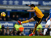 2nd February 2019, Goodison Park, Liverpool, England; EPL Premier League Football, Everton versus Wolverhampton Wanderers; Raul Jimenez of Wolverhampton Wanderers fires in a shot