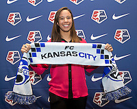 #19 overall pick Frances Silva of FC Kansas City poses during the NWSL draft at the Pennsylvania Convention Center in Philadelphia, PA, on January 17, 2014.