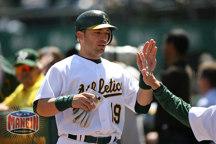OAKLAND - April 18:  Marco Scutaro of the Oakland Athletics during the game against the Los Angeles Angels of Anaheim at McAfee Coliseum in Oakland, California on April 18, 2007.  (Photo by Brad Mangin)