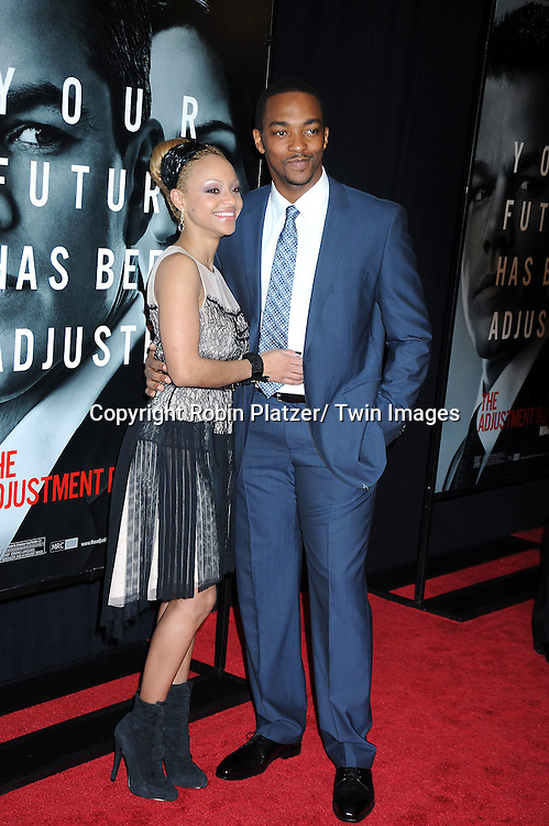 "Anthony Mackie and Sheletta Chapital attending The World Premiere of "" The Adjustment Bureau"" on February 14, 2011.at The Ziegfeld Theatre in New York City..Matt Damon and Emily Blunt are the stars of the movie"
