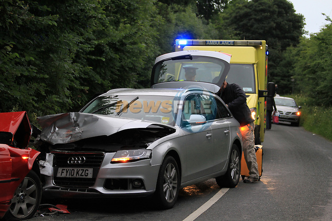 The scene of a two vehicle rta between Donore village and the Newgrange visitor centre, Two ambulances attended the scene..Picture Fran Caffrey/www.newsfile.ie.