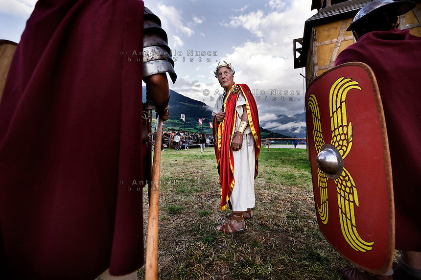 A Gladiator of Gruppo Storico Romano during his performance at the South Tyrolean Knight Games at Sluderno, north Italy.