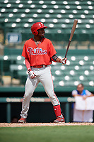 Philadelphia Phillies Logan Simmons (21) at bat during a Florida Instructional League game against the Baltimore Orioles on October 4, 2018 at Ed Smith Stadium in Sarasota, Florida.  (Mike Janes/Four Seam Images)