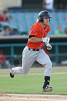 Chad Hinshaw #6 of the Inland Empire 66ers runs to first base during a playoff game against the Lancaster JetHawks at The Hanger on September 7, 2014 in Lancaster, California. Lancaster defeated Inland Empire, 5-2. (Larry Goren/Four Seam Images)