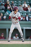 Shortstop George Callil (6) of the South Carolina Gamecocks bats in a game against the Furman Paladins on Tuesday, March 19, 2019, at Fluor Field at the West End in Greenville, South Carolina. South Carolina won, 12-7. (Tom Priddy/Four Seam Images)