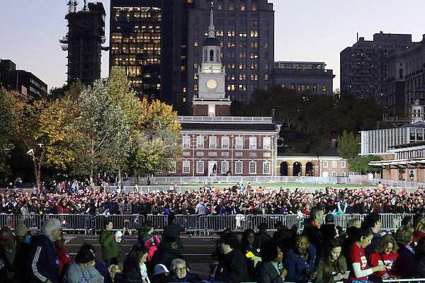 PHILADELPHIA, PA - NOVEMBER 7: Atmosphere  at the GOTV Rally in support of Hillary Clinton for President at Independence Mall in Philadelphia, Pennsylvania on November 7, 2016. Credit: Star Shooter/MediaPunch