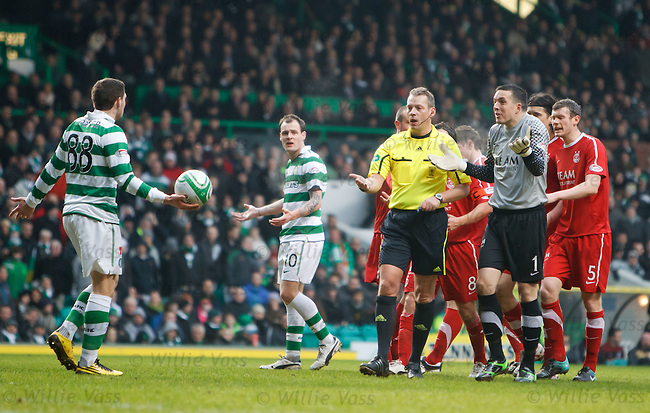 Referee Iain Brines sparks controversy after denying Celtic an indirect free kick after a pass back to keeeper Jamie Langfield