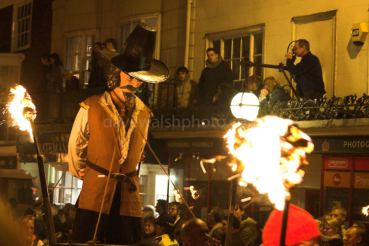 Effigy of gunpowder plotter Guy Fawkes during '5th' Parade in Lewes..5/11/05