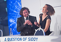 Picture by Allan McKenzie/SWpix.com - 05/10/17 - Cricket - Yorkshire County Cricket Club Gala Dinner 2017 - Elland Road, Leeds, England - Ryan Sidebottom reflects on his career with Tanya Arnold.