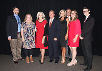 NWA Democrat-Gazette/CARIN SCHOPPMEYER Ethan and Kellye Brown (from left), Stephania and John Brown III, Jenny and Andy Benson and Kathryn and Landon Cottrell gather at the Brandon Burlsworth Foundation Legends Dinner on Oct. 11 at the Fayetteville Town Center. John was this year's Legends honoree.