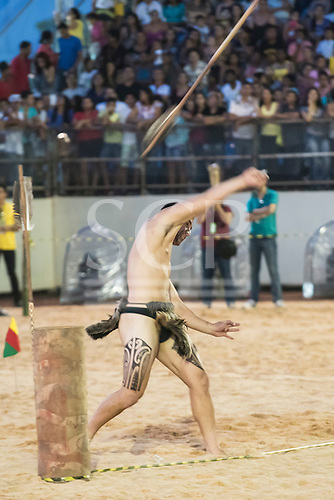 A Maori contestant from New Zealand throws the spear during the International Indigenous Games, in the city of Palmas, Tocantins State, Brazil. Photo © Sue Cunningham, pictures@scphotographic.com 31st October 2015