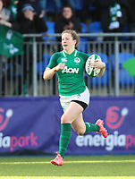 9nd February 2020; Energia Park, Dublin, Leinster, Ireland; International Womens Rugby, Six Nations, Ireland versus Wales; Lauren Delany (Ireland) breaks clear to score a try