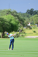 Roberto Castro (USA) hits his approach shot on 18 during round 2 of the Valero Texas Open, AT&amp;T Oaks Course, TPC San Antonio, San Antonio, Texas, USA. 4/21/2017.<br /> Picture: Golffile | Ken Murray<br /> <br /> <br /> All photo usage must carry mandatory copyright credit (&copy; Golffile | Ken Murray)
