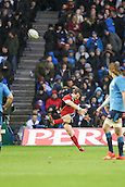 28.02.2015.  Edinburgh, Scotland. 6 Nations International rugby Championship. Scotland versus Italy. Scotland's Peter Horne kicks.