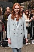 Eleanor Tomlinson arrives for the Topshop Unique AW17 show as part of London Fashion Week AW17 at Tate Modern, London, UK. <br /> 19 February  2017<br /> Picture: Steve Vas/Featureflash/SilverHub 0208 004 5359 sales@silverhubmedia.com