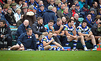Bath players and management are all smiles during a break in play. LV= Cup match, between Bath Rugby and Exeter Chiefs on November 17, 2013 at the Recreation Ground in Bath, England. Photo by: Patrick Khachfe / Onside Images